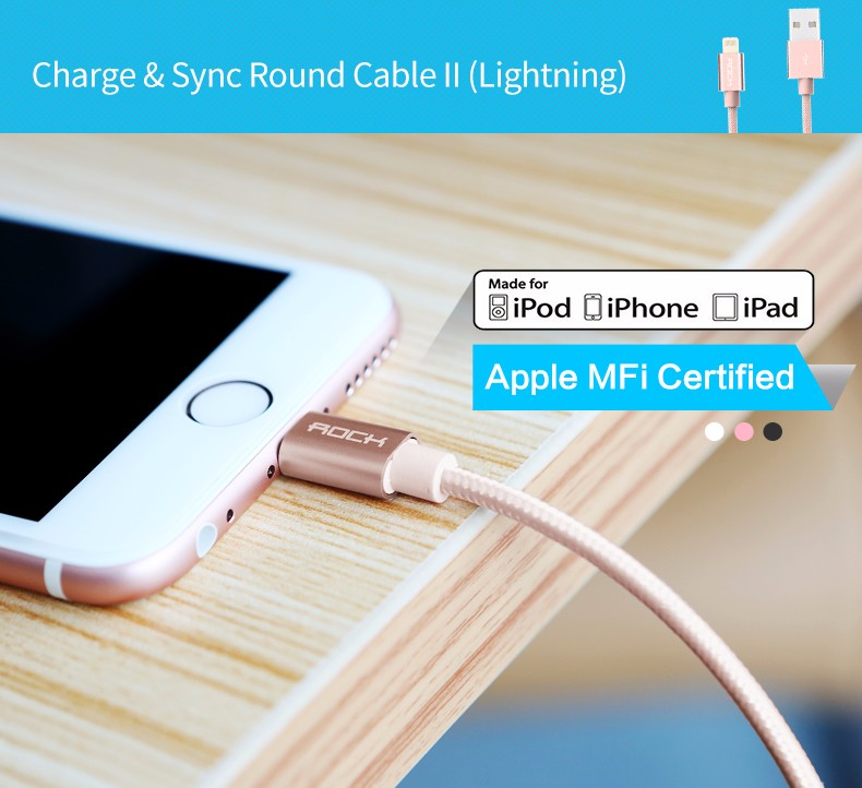 Cáp Rock Space MFI Lightning Metal Charge & Sync Round Cable
